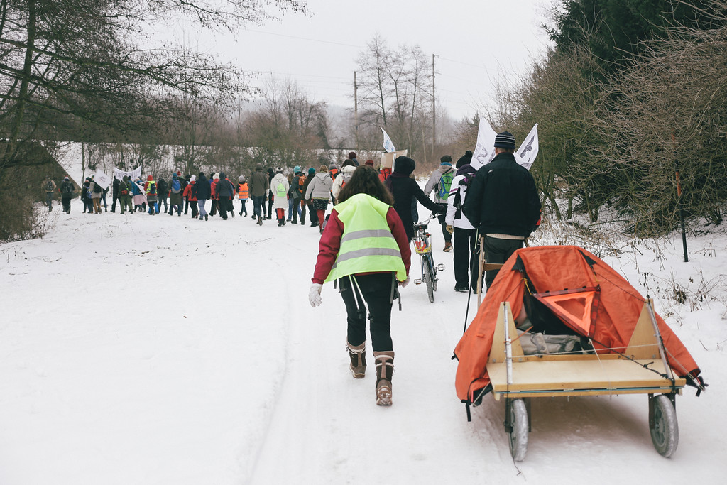 The group leaving Tisnov. Marek (Poland) decided to take his belongings on a specially designed cart.