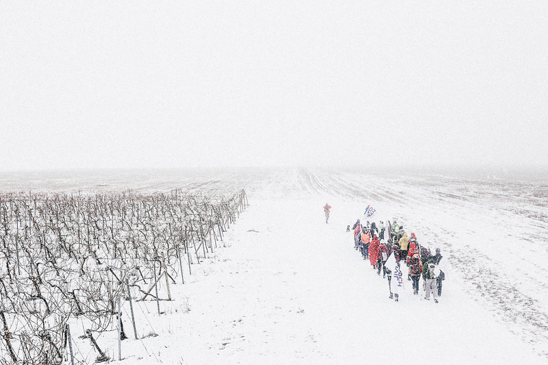 CMFA group marching in snow towards Pohorelice.
