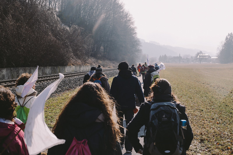 Marching towards Aspang Markt, Austria.