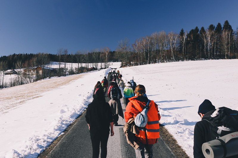 The group walking towards Pinggau, Austria.