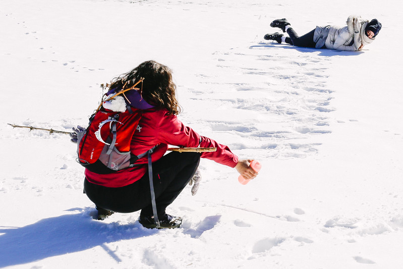 Malika and Ismahan, both French, with Algerian roots. Having fun on the deep snow.