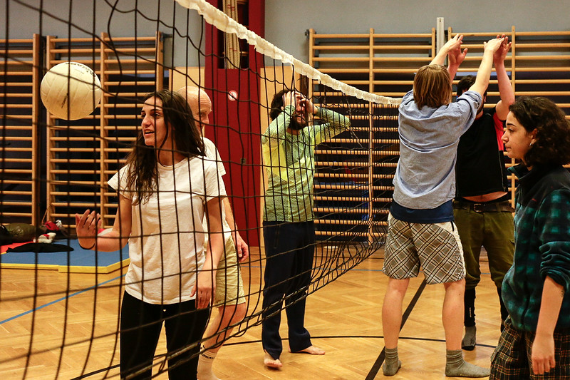 After the marching group reached the accommodation spot and discovered that the sport hall is equipped with volleyball set - they started a match, Grafendorf bei Hartberg, Austria.