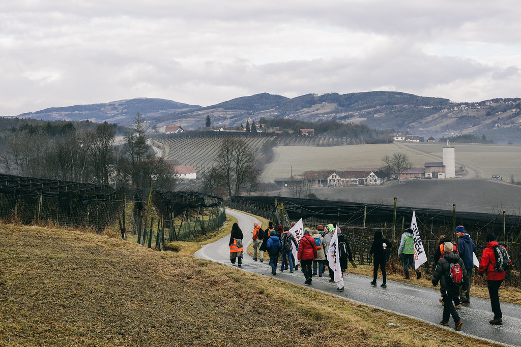 Marching through Austria.