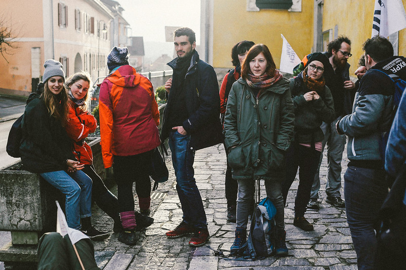 The group, waiting for the transport to accommodation spot, Wildon, Austria.