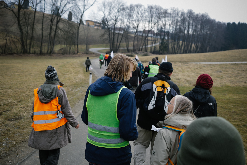 Marching towards border with Slovenia.