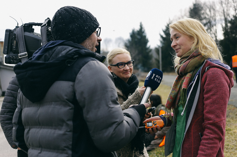 Anna (Poland), founder of the march, giving an interview.