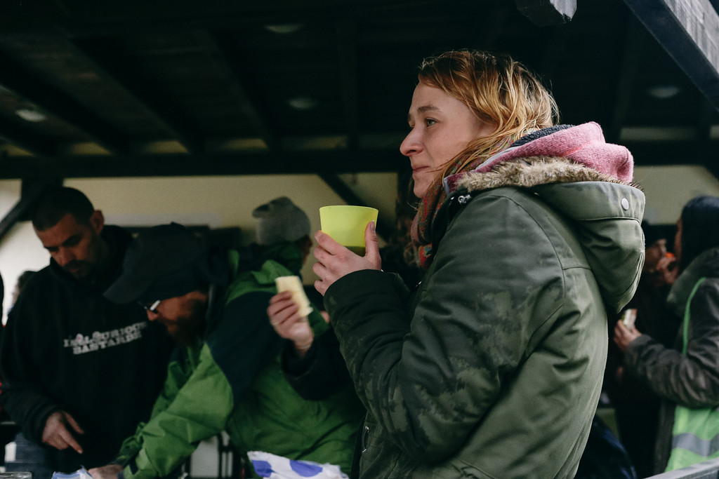 Anna, co-founder of the march, enjoys a warm tea during launch break.