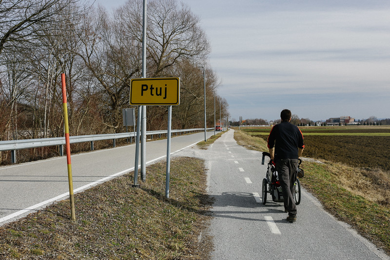 Jan (Poland) entering Ptuj; Slovenia.