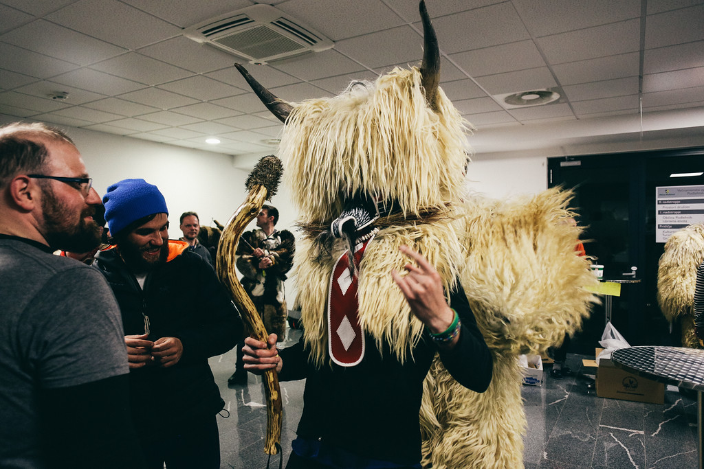 We also had opportunity to try the heavy, furry masks.