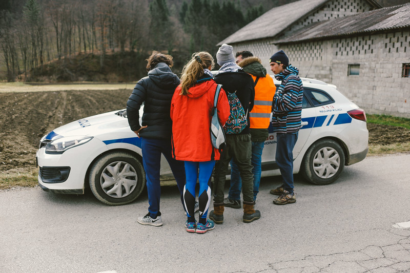 Consulting the route with the police.