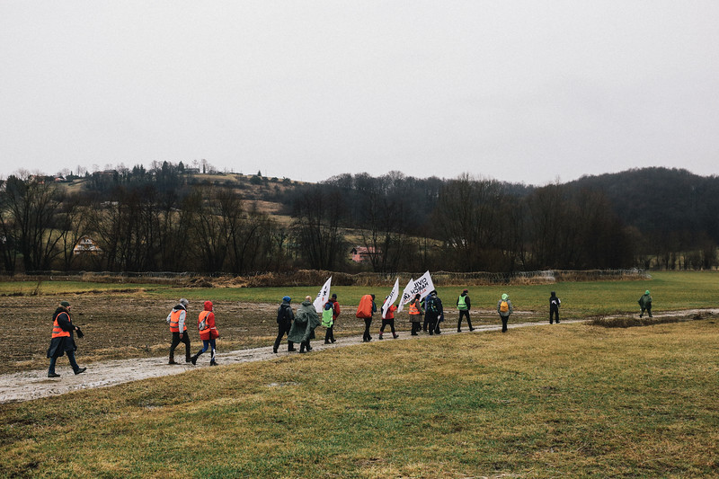 Marching in the rain.