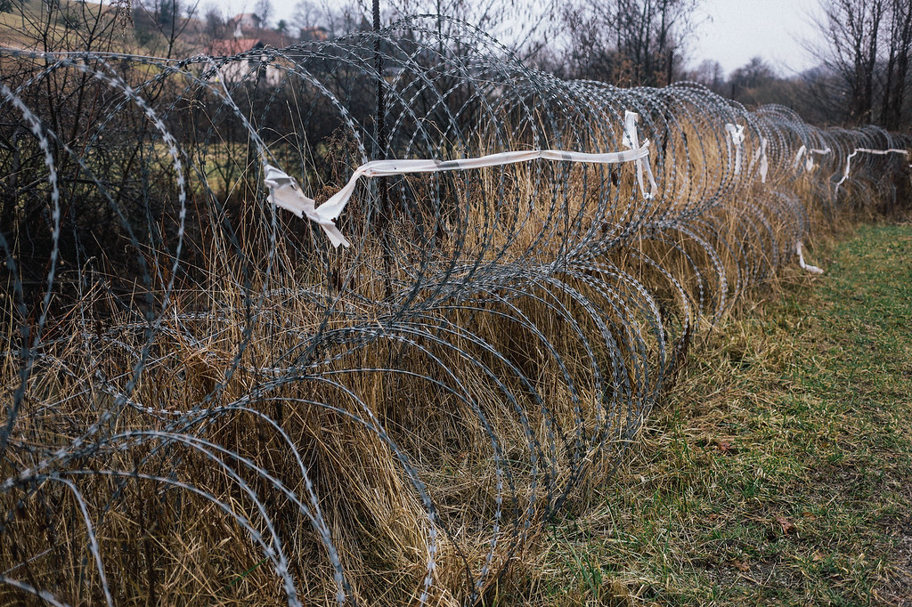 The border fence between Slovenia and Croatia.