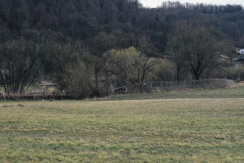 Slovenia, border barrier made of barb wire.