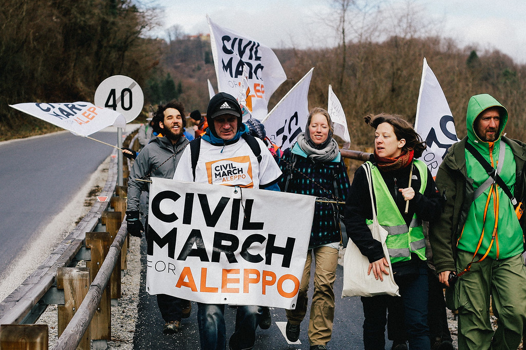 Marching to Podcetrtek, Slovenia.