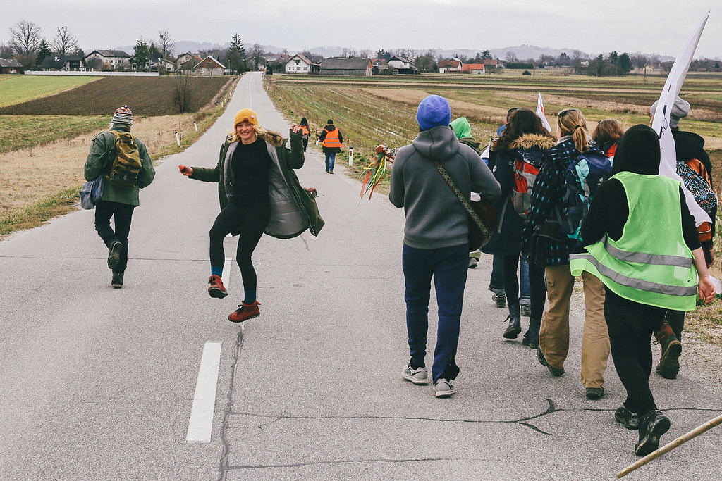 Marching to Dobova with a very good spirit; Slovenia.