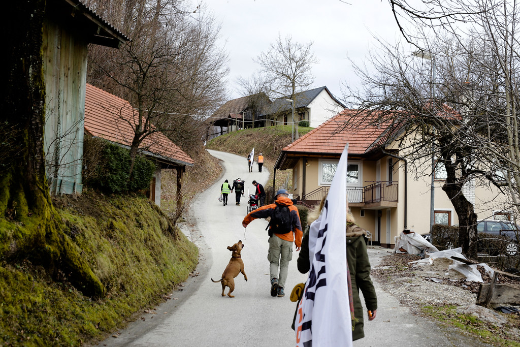Marching through hilly Slovenia.