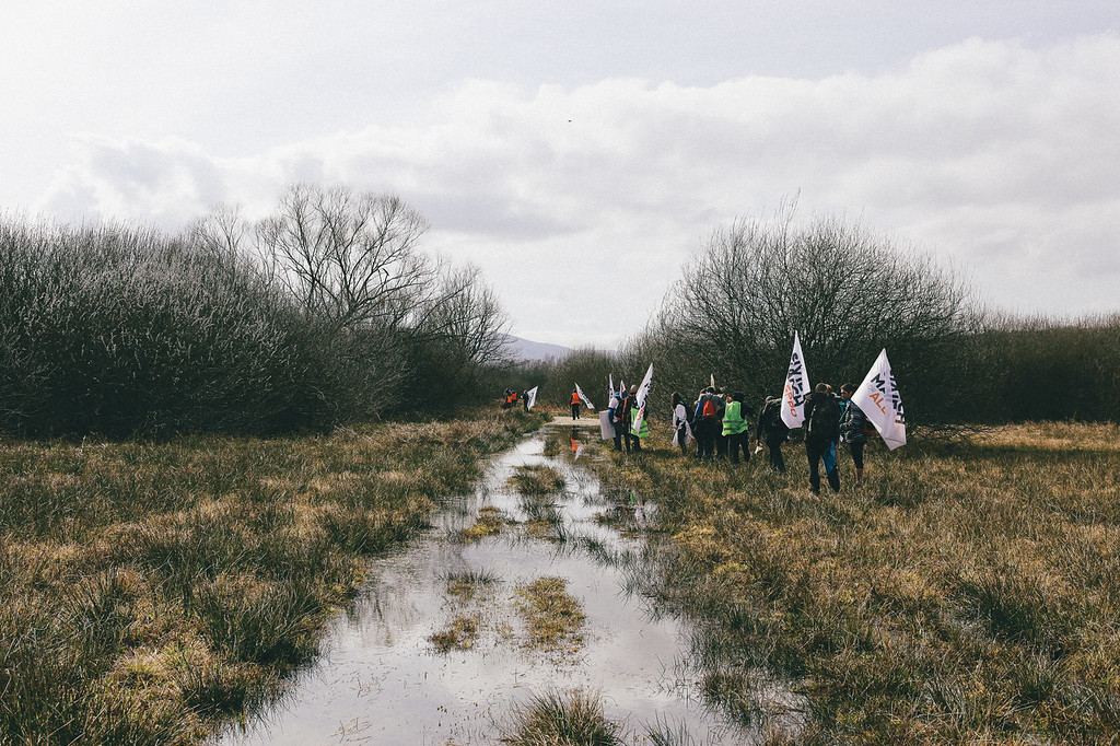 Marching through the swamps.