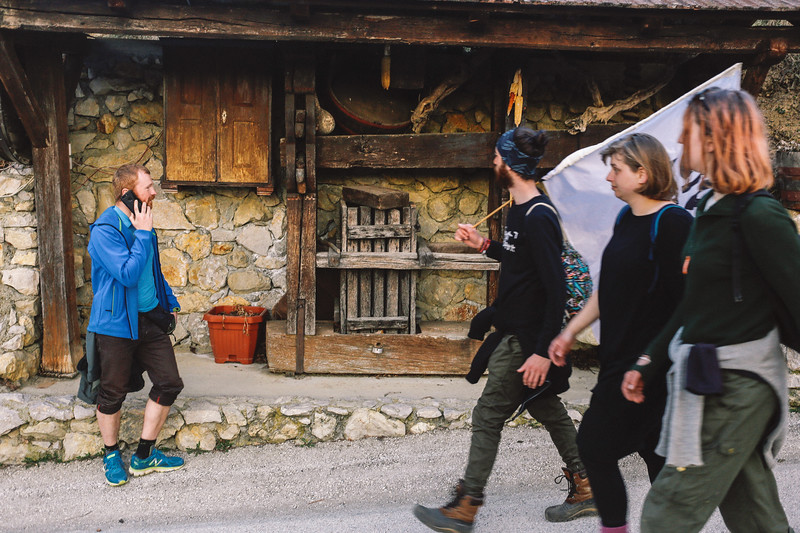 Marching through small villages.