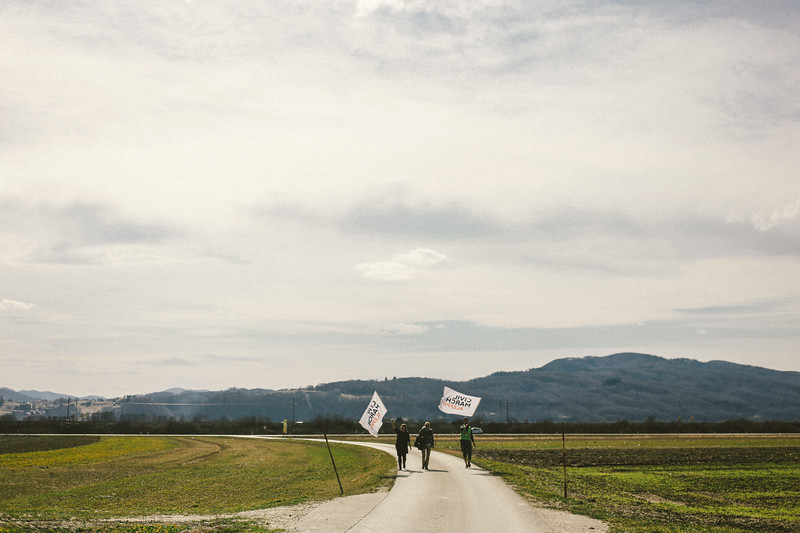 Marching north, through Slovenia.
