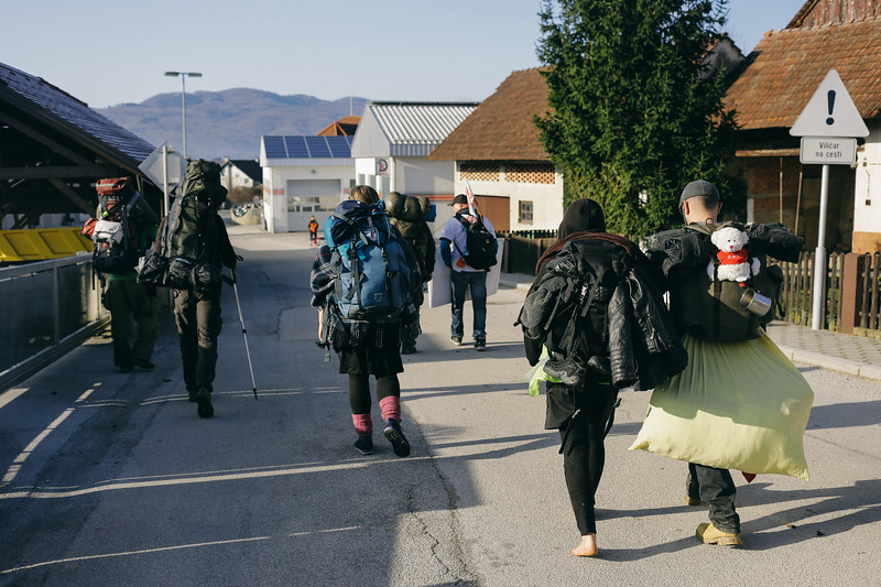 The group marching towards the border in Dobova; Slovenia.