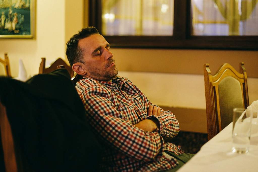 Krystian (Poland), taking a rest in a restaurant, together with logistics team.