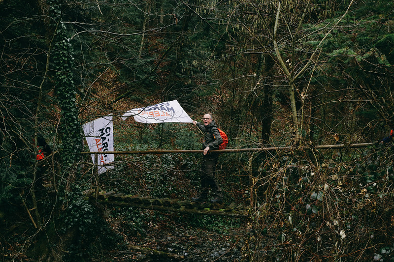 Andreas (Germany), crossing a small wooden bridge.