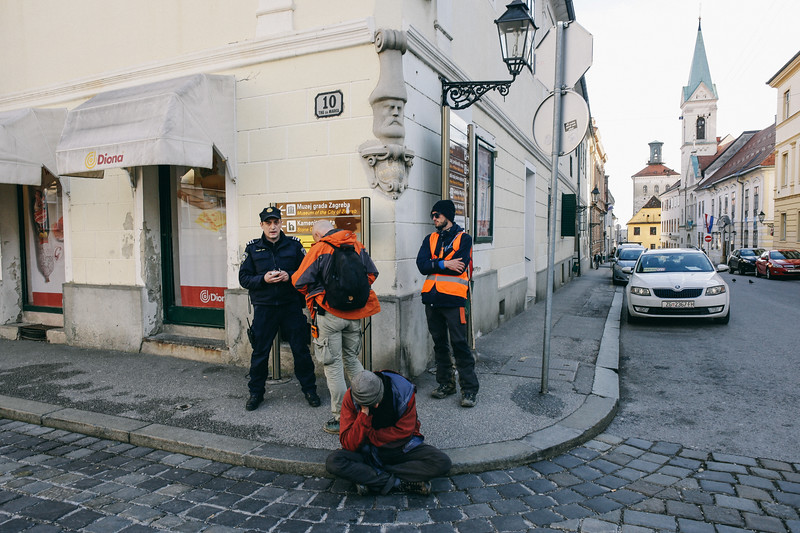 Controlled by the police in the Zagreb's old town.