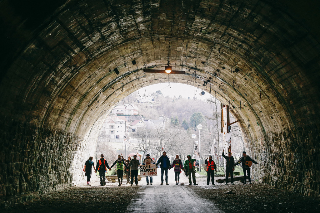 Group photo in a tunnel. Marching to Zagreb.