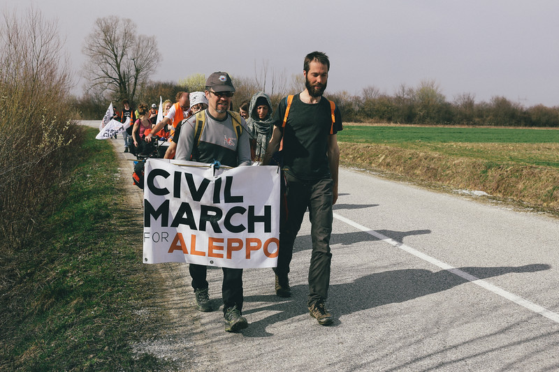 CMFA marching towards Sisak. Jan (Poland) and Paolo (Italy).