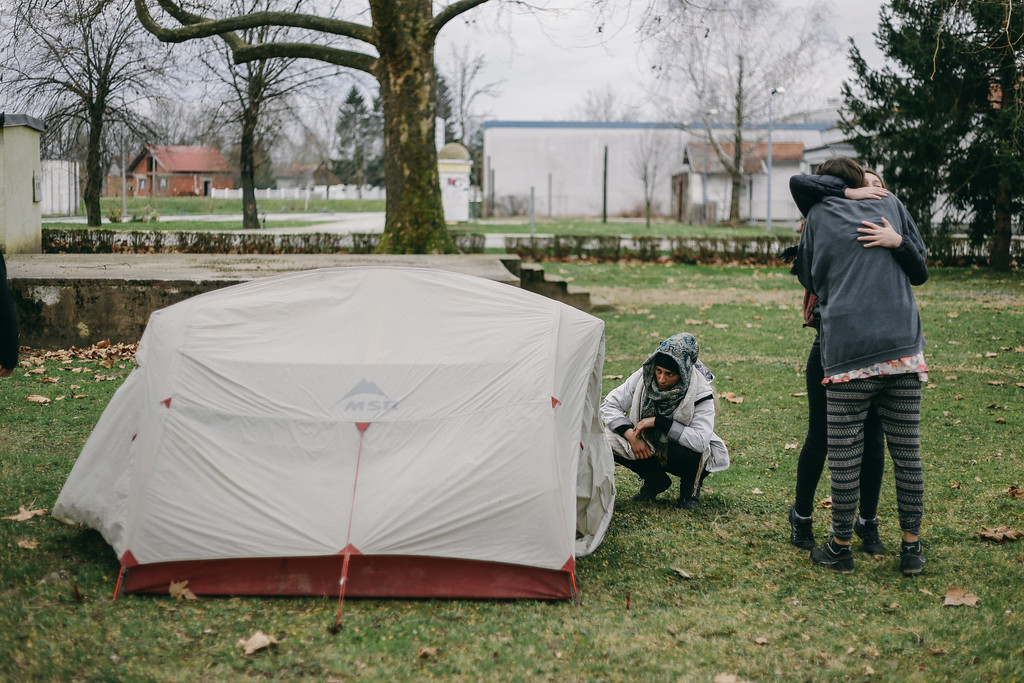 Frederic's tent, Sunja, Croatia. On this day Frederic and Toni left the march.