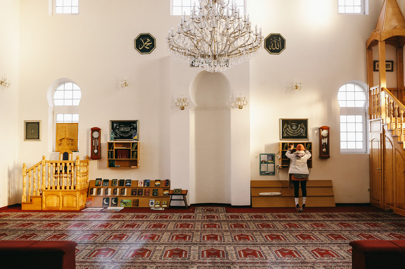 Ismahan (France) inside a mosque in Kozarac, Bosnia and Herzegovina.