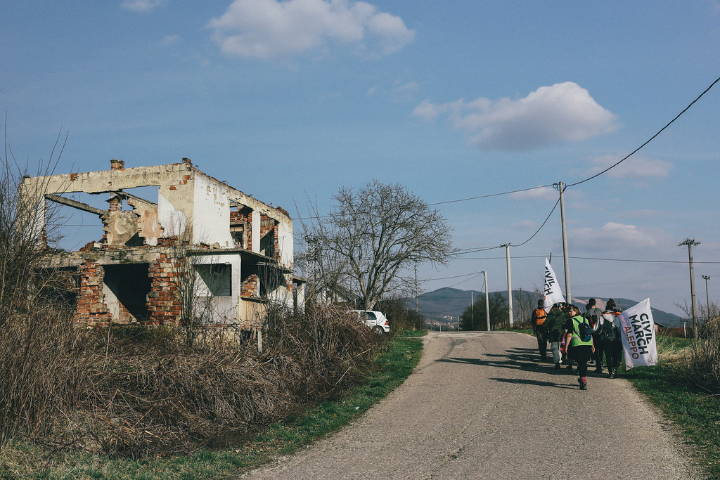 Newly rebuilt or renovated houses are mixed with ruins, remaining about the war, on the way to Kozarac.