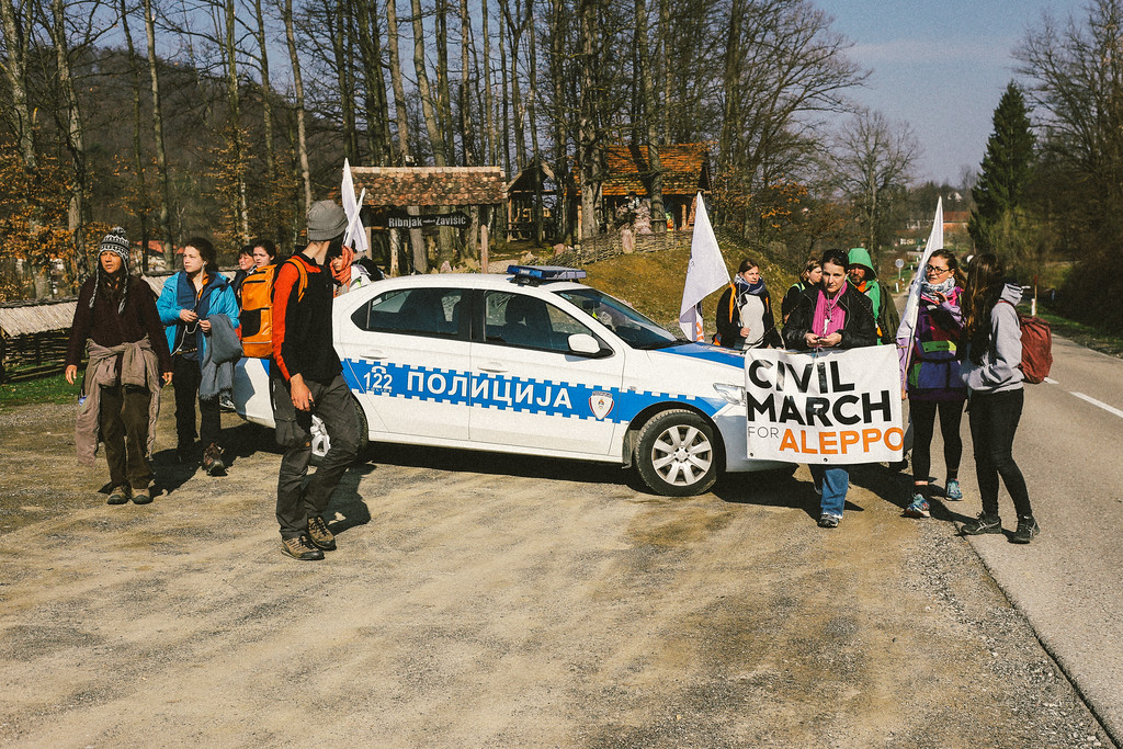 Marching to Kozarac. We have been secured by the local police.