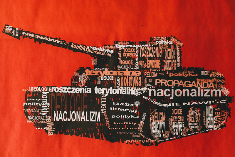 Anti war poster in accommodation spot, NGO center, Banja Luka, Bosnia and Herzegovina.