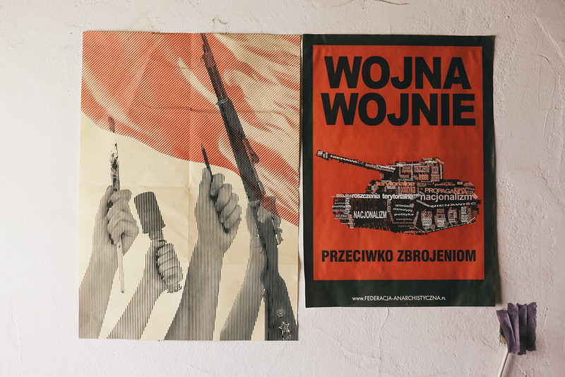 Anti war posters in accommodation spot, NGO center, Banja Luka, Bosnia and Herzegovina.