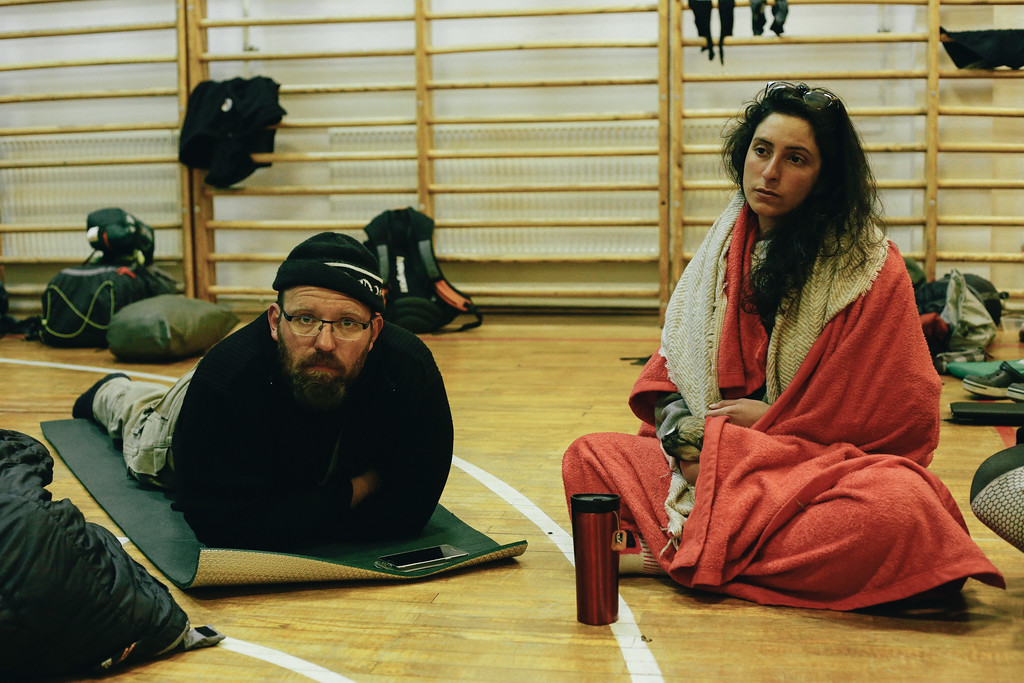 Late orga meeting in Vitovlje sport gym. Denis (Germany) and Ismahan (France).