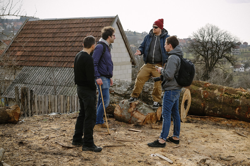 Krystian, journalist Pawel, writer Ziemowit (Poland) and their friend from Croatia planning the day.