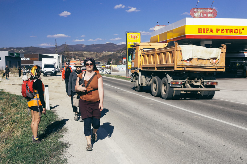 Marching on a busy road towards Sarajevo. Never before CMFA got so much friendly attention on the road.