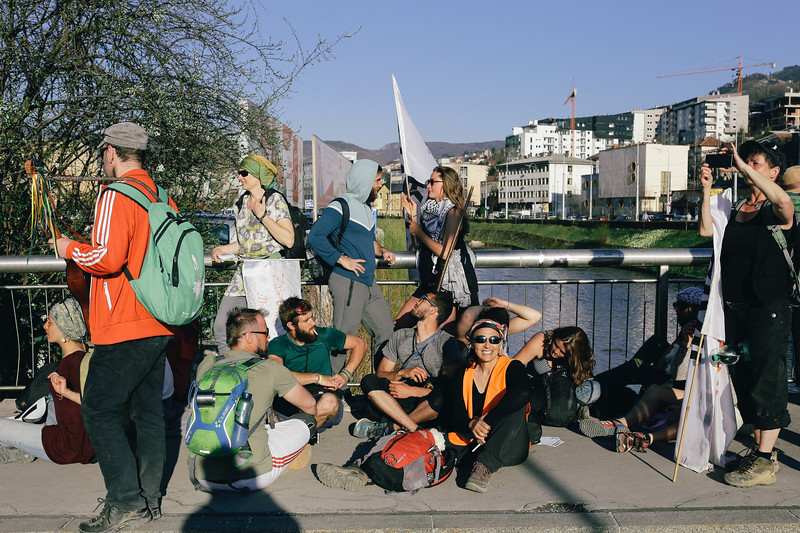 The group waiting for further actions in Sarajevo.