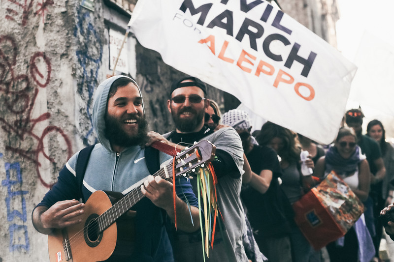 """""""Hippie"""" style march to the downtown of Sarajevo."""