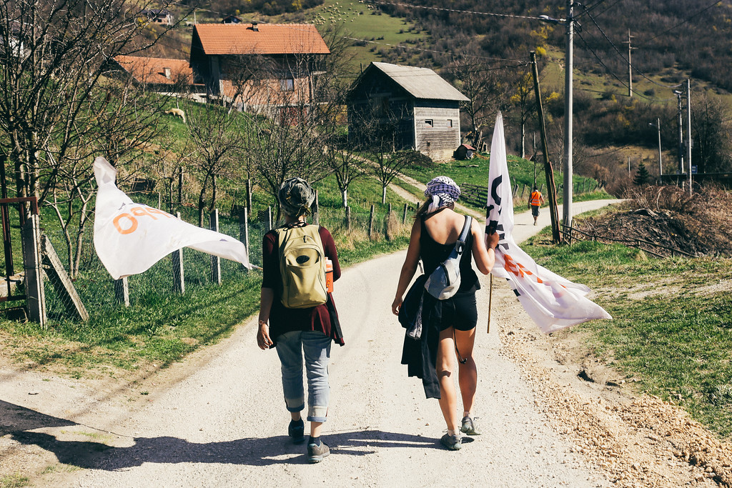 Ismahan and Clara, marching towards Sarajevo.