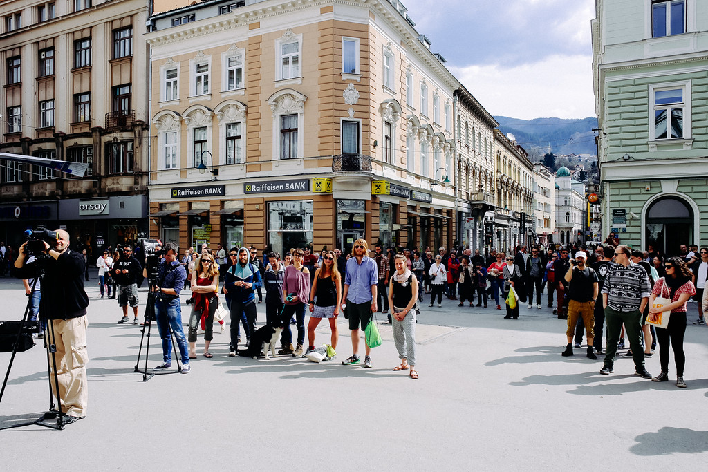 CMFA team and citizens of Sarajevo taking part in the event.