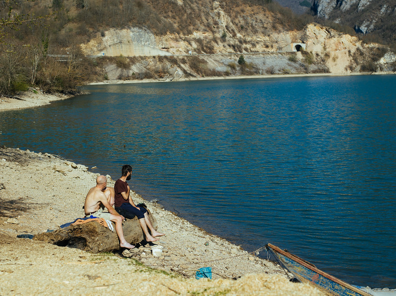 We went swimming in the afternoon but the water coming from mountains was only 14 degrees cold.