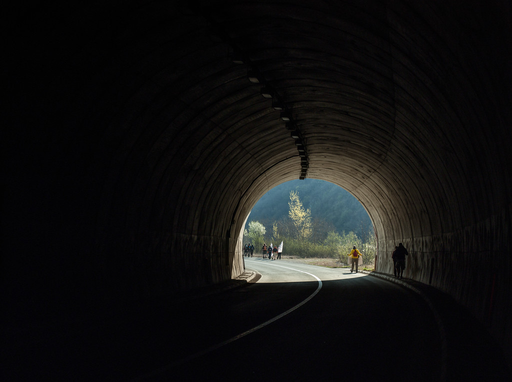 The route from Mededa to Visegrad leaded via small, abandoned road with many tunnels.