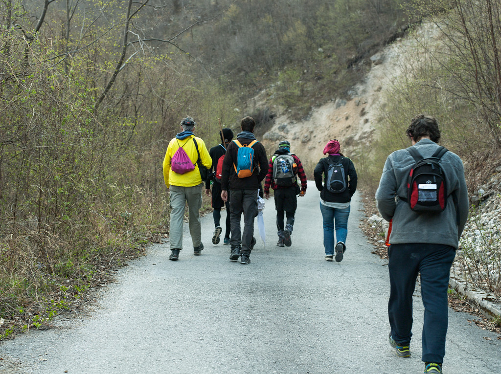 Marching along the Drina river.