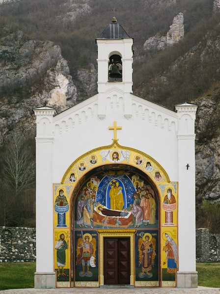 Beautiful chapel in Gornj Dobrun. Dobrun Monastery (Serbian Cyrillic: Манастир Добрун) is located in Bosnia and Herzegovina, 12 km away from town of Višegrad, in the gorge of the Rzav river near the border with Republic of Serbia. Dobrun Monastery is dedicated to the Dormition of the Virgin and was built in 1343 by Duke Pribil and his sons Stefan and Petar.  /wiki