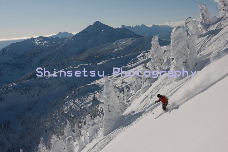 Skier in the Selkirk Mountains, BC, Canada (MR)