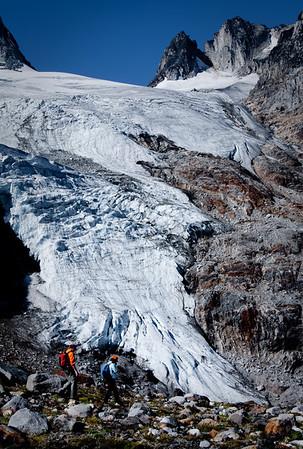 Granite Glacier, hard to imagine that we ski down on it in the Winter.