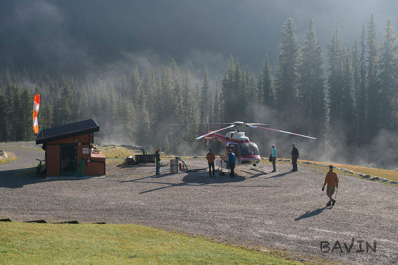 Morning mist on the heli pad