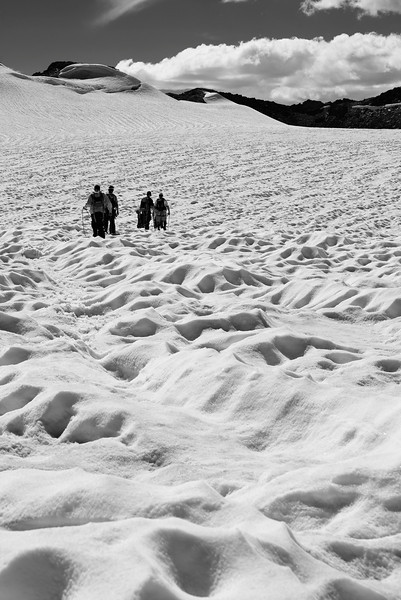 Knee deep suncups on Pyramid Glacier
